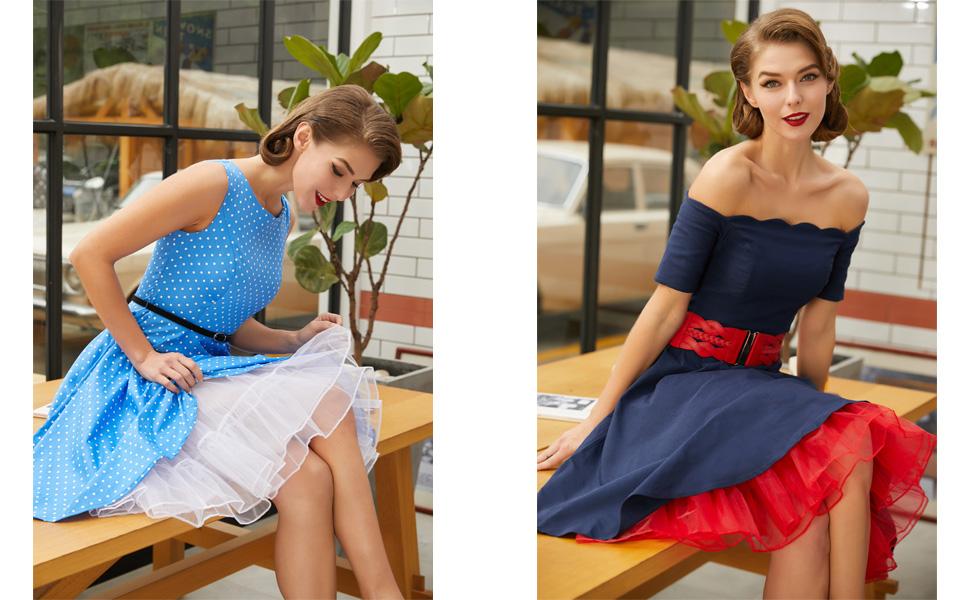AW BRIDAL Women 50s Petticoat Skirts Rockabilly Retro Underskirt Crinoline Tutu Dress
