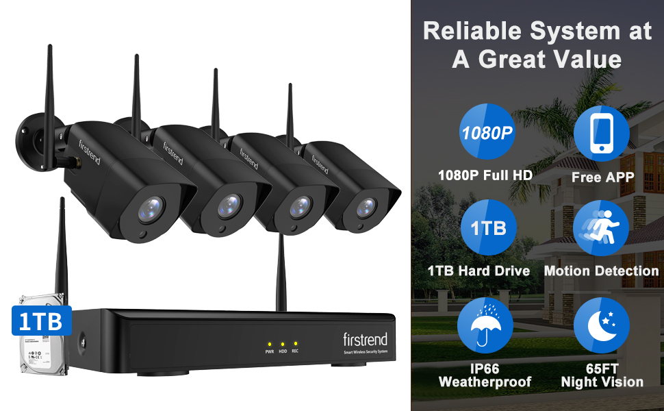 8CH 1080P NVR with 4PCS 1080P Full HD Cameras and 1TB Hard Drive Pre-installed
