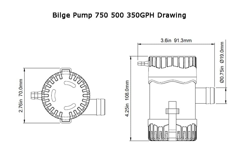 Bilge Pump 750 500 350GPH Drawing