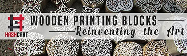 Hashcart wooden printing stamps motif design blocks