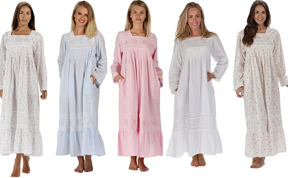 Violet 100% Cotton Nightgown With Pockets