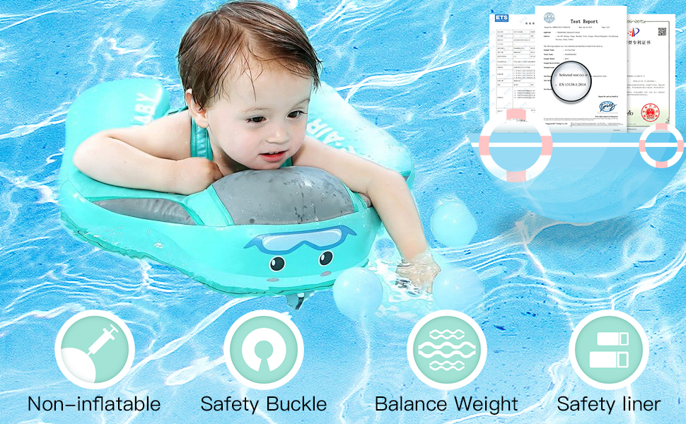 Pink Non-Inflatable Baby Infant Soft Solid Float Lying Swimming Ring Children Waist Float Ring Floats Pool Toys Swim Trainer 5th Pro Version