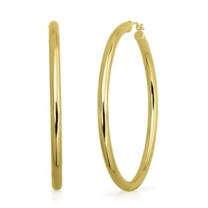 Endura Gold Round Hoop Earrings in 14K Yellow Gold