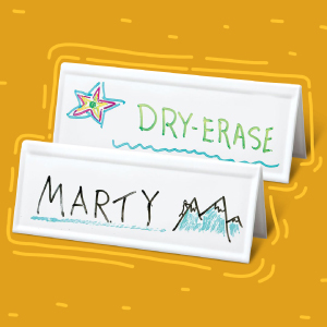 """Trainers Warehouse's Set of 10 Space-saver Reusable Name Cards, WHITE, dry-erase tent, 8.75"""" x 3"""""""