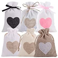 Heart burlap bags