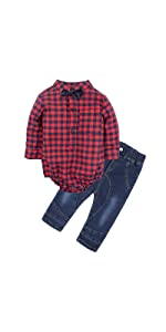 NEW Baby Boys Bow Tie Bodysuit Plaid Suspender Pants Outfit Set Easter