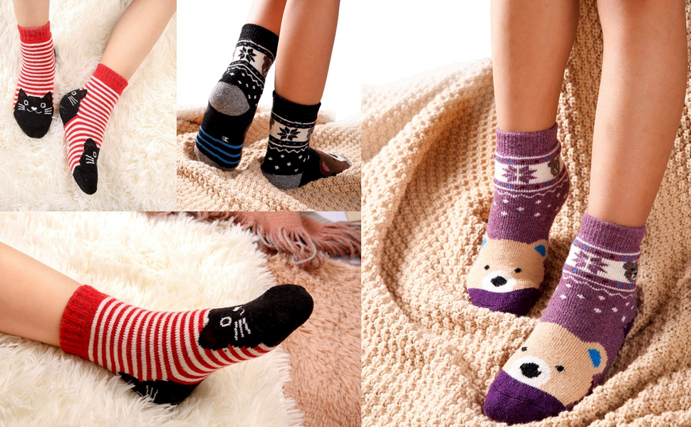 kids children boys girls winter wool warm soft socks