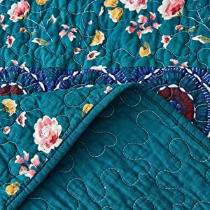 dainty floral yellow teal green colorful spring time summer bedspread set coverlet quilted blanket
