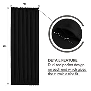 52 inch blackout curtains