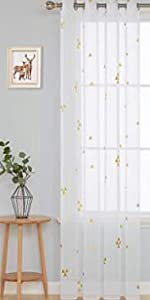 Triangle printed sheer curtains