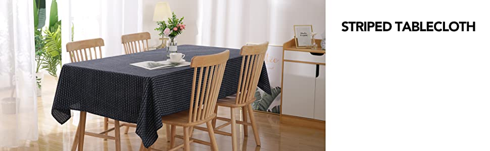 Striped Waterproof Square Tablecloth Navy Blue for Family Dinners Parties Hotels and More