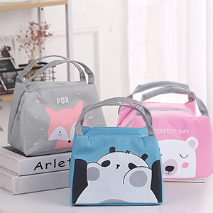 Cute Thermal Lunch Bag Insulated Tote Leakproof Zipper Bag with Foil Liner