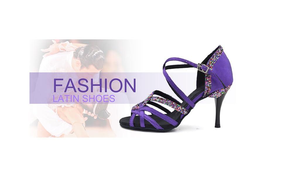 Indoor Dance Shoes Women for Latin Ballroom Salsa Floral
