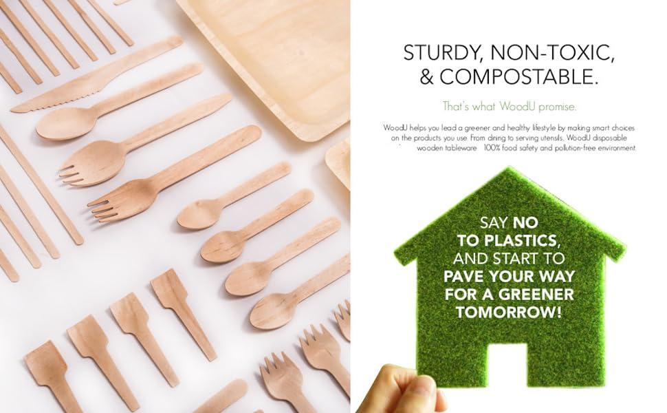 woodu tasting wooden utensils cutlery compostable fork spoon compostable coffee stirrers natural