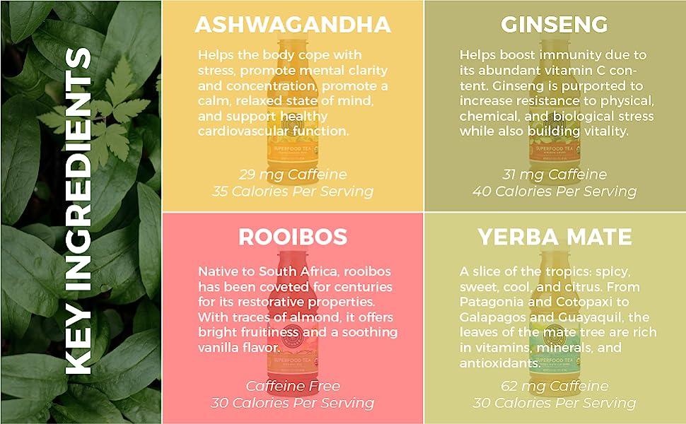 Tea Ingredients, Ashwagandha, Ginseng, Rooibos, Yerba Mate