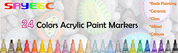 SAYEEC 24 COLORS acrylic paint markers for rock painting