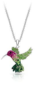 BLING BIJOUX Jewelry Colorful Flying Hummingbird Crystal Pendant