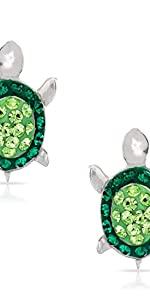 BLING BIJOUX Jewelry Green Crystal Turtle Earring