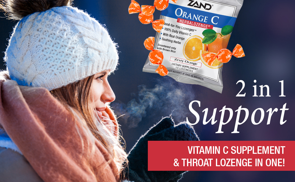 Zand HerbaLozenge Orange C w/ Herbal Extract Blend for Soothing Throat No Corn Syrup 15 Lozenges.