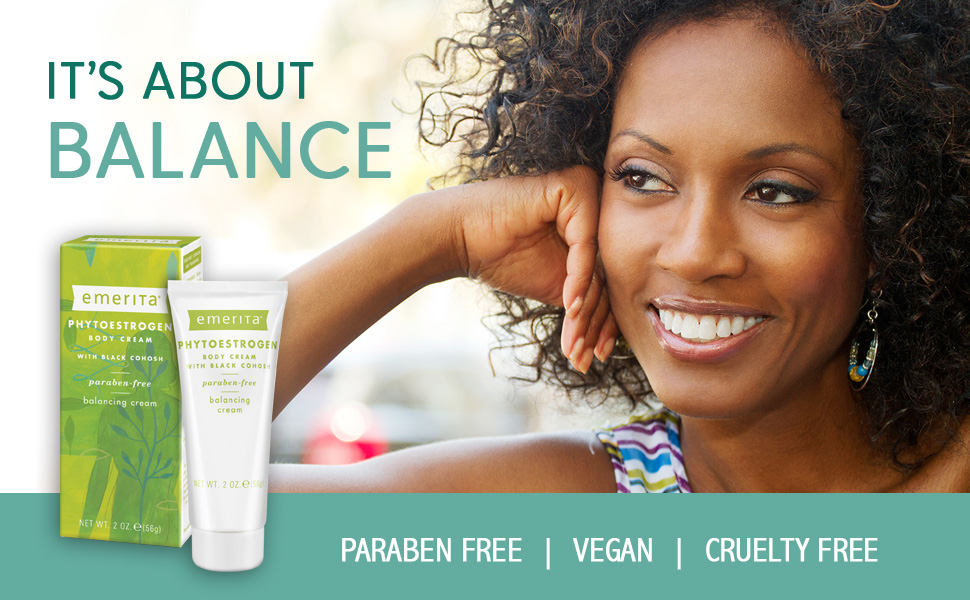 Emerita Phytoestrogen Body Cream Optimal Balance Black Cohosh Ginseng Red Clover Vegan 2 oz