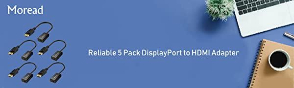 5 Pack DisplayPort to HDMI