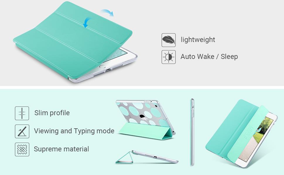 ipad mini 1 2 3 case cover slim light sturdy color wak slip smart bumper trifold cute gift girl thin