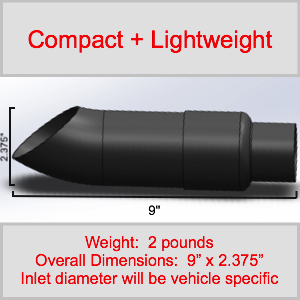 Compact Lightweight Motorcycle Radiant Cycles Shorty GP Exhaust Short motorcycle muffler pipe BLACK