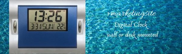 Digital wall clock blue
