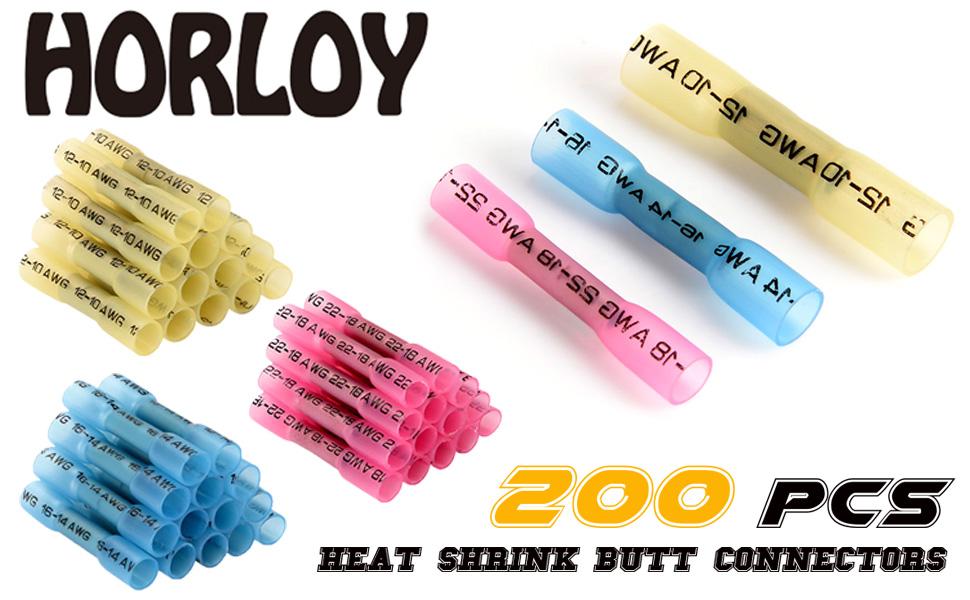 Horloy 200pcs Heat Shrink Butt Connectors Terminals