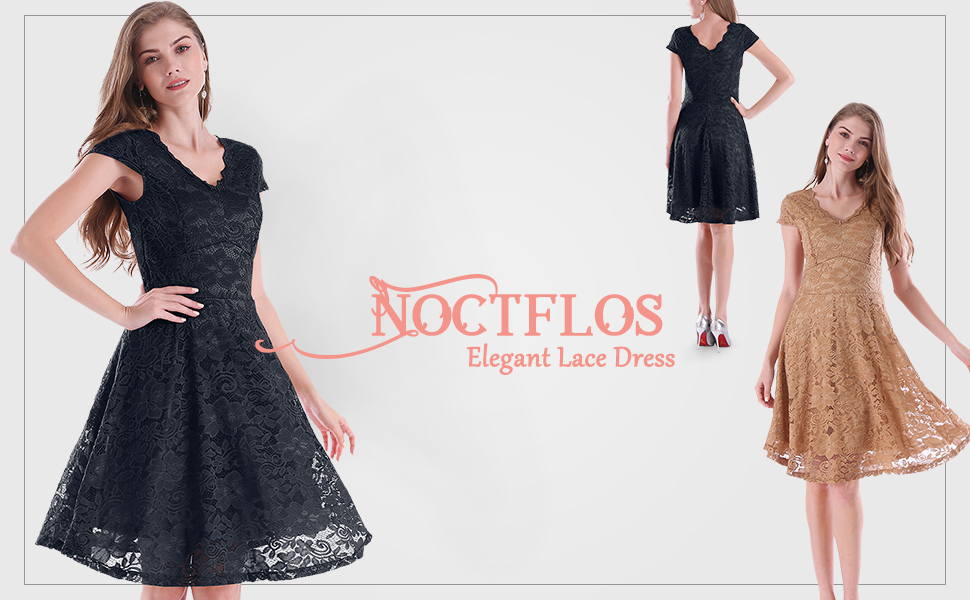 Noctflos Women's Vintage V Neck Semi Formal Lace Cocktail Dress for Wedding Party