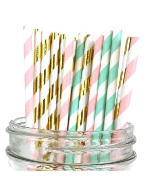 Just Artifacts Assorted Decorative Striped Paper Straws 100pcs - Light Pink/Seafoam/Metallic Gold