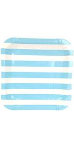 baby blue stripe plate