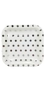 square silver polka dot plate