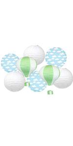 green hot air balloons and cloud paper lanterns diy hanging decor