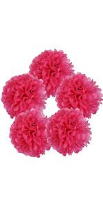 shocking pink tissue pom