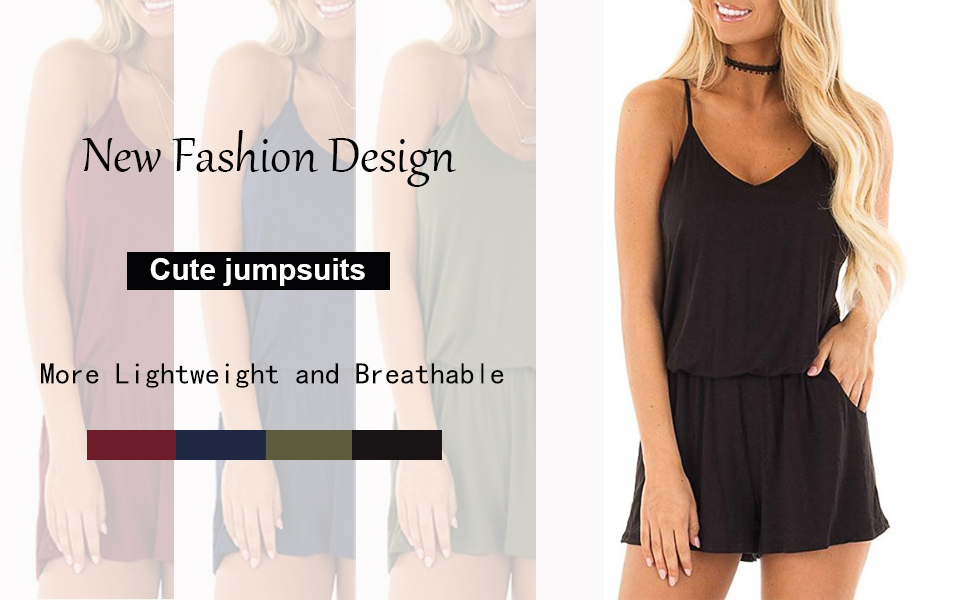 Women Summer Casual Sleeveless Rompers Spaghetti Strap Waist Drawstring Solid Short Jumpsuits
