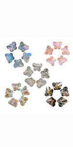 Houlife 10x8mm Crystal AB Rainbow Butterfly Faceted Glass Beads