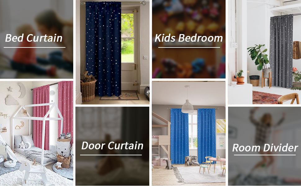 blackout curtains for bedroom living room kids nursery stars thermal insulated darkening privacy