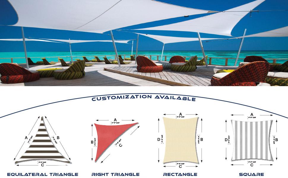 customize sun shade sail