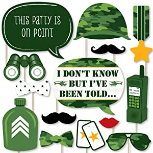 Camo Hero - Army Military Camouflage Party Photo Booth Props Kit