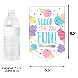 Scoop Up The Fun - Ice Cream - Sprinkles Party Bunting Banner - Party Decorations