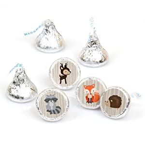 Woodland Creatures Baby Shower Birthday Bday Party Hershey Kisses Round Candy Stickers