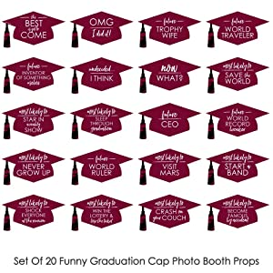 Hilarious Maroon Grad - Best is Yet to Come - Burgundy Graduation Party Photo Booth Props Kit Decor