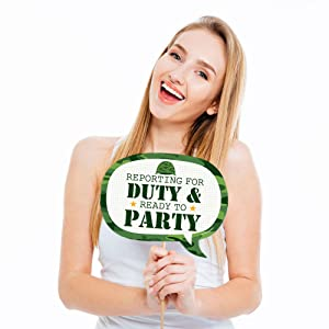 Funny Camo Hero - Army Military Camouflage Party Photo Booth Props Kit