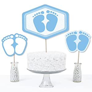 Baby Feet Blue - Boy Baby Shower Centerpiece Sticks - Table Toppers