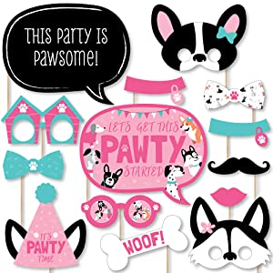 Pawty Like a Puppy Girl - Pink Dog Baby Shower or Birthday Party Photo Booth Props Kit