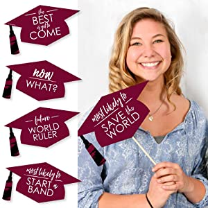Hilarious Maroon Grad - Best is Yet to Come - Burgundy Graduation Party Photo Booth Props Kit