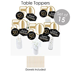 Adult 50th Birthday - Gold - Birthday Party Decoration Kit - Fundle Bundle