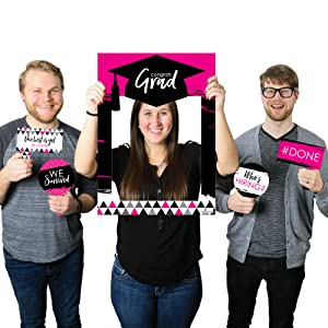 Pink Grad - Best is Yet to Come - Pink Graduation Party Selfie Photo Booth Picture Frame & Props