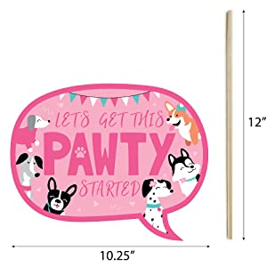 Pawty Like a Puppy Girl - Pink Dog Baby Shower or Birthday Party Photo Booth Props Kit Supplies
